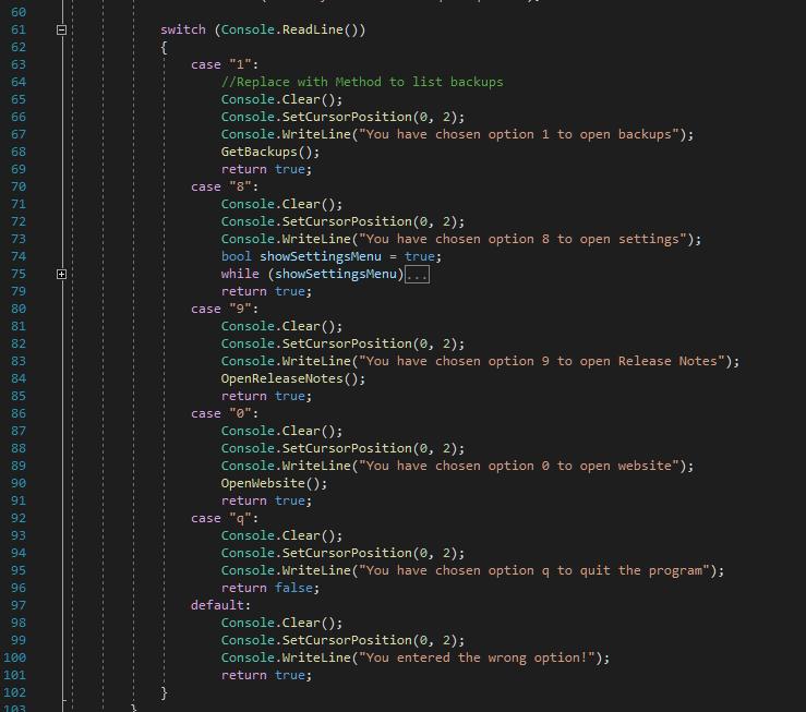 Code: Switch mit Menüauswahl